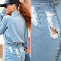 Rihanna yırtık eteğiyle alışveriş yaptı! galerisi resim 1