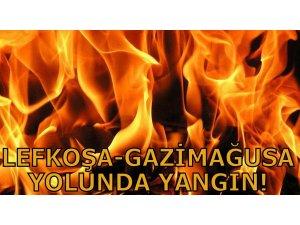 LEFKOŞA-GAZİMAĞUSA YOLUNDA YANGIN!