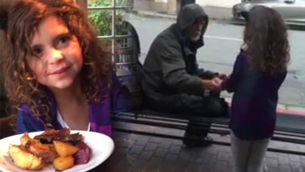 Küçük bir kız dışarıda bir evsiz bir adamı görünce...