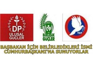 PARTİLER BAŞBAKAN İÇİN BELİRLERDİĞİ İSMİ CUMHURBAŞKANI'NA SUNUYOR